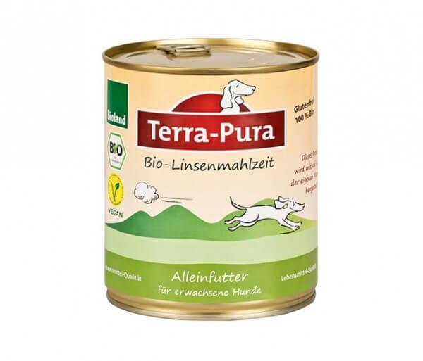 Hunde rein pflanzlich ernähren mit der Terra-Pura Bio-Linsenmahlzeit