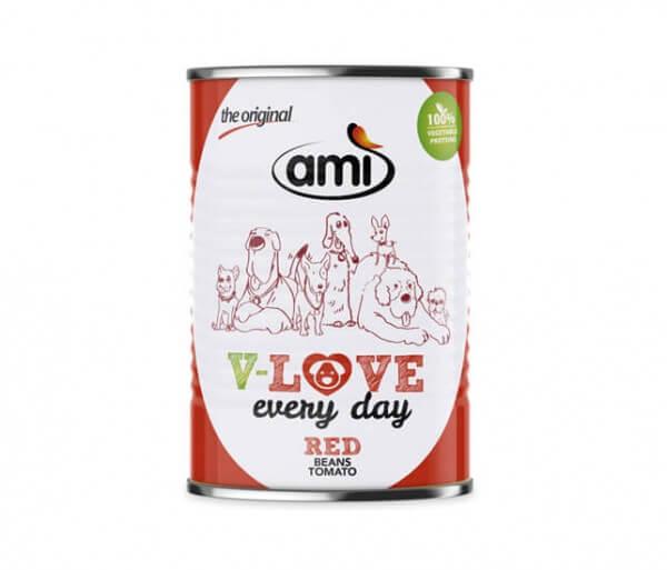 AMI Dog V-Love RED Nassfutter für Hunde mit Bohnen, Tomate & Rote Bete