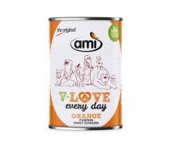 AMI Dog V-Love ORANGE Hundefutter mit Kürbis & Süßkartoffel kaufen - vegan - ohne Tierleid
